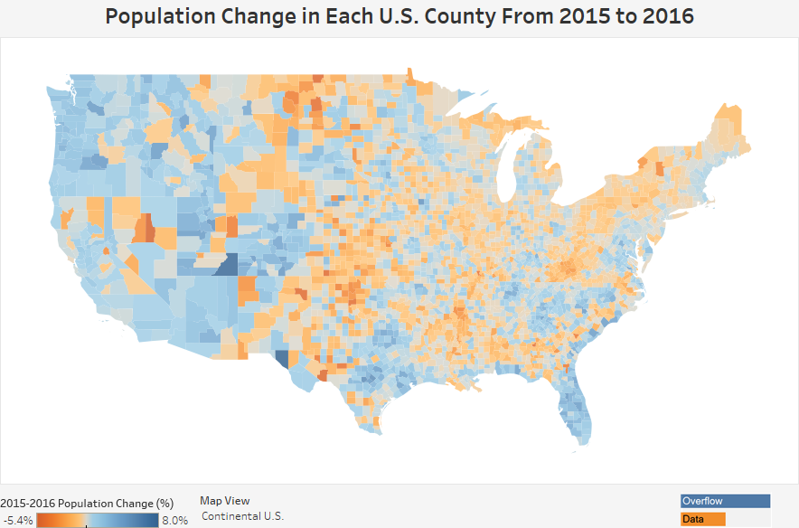 Population Change In Each US County From To - Us population map 2015
