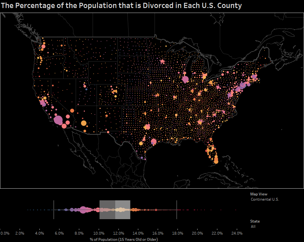 The Percentage of the Population that is Divorced in Each U.S. County